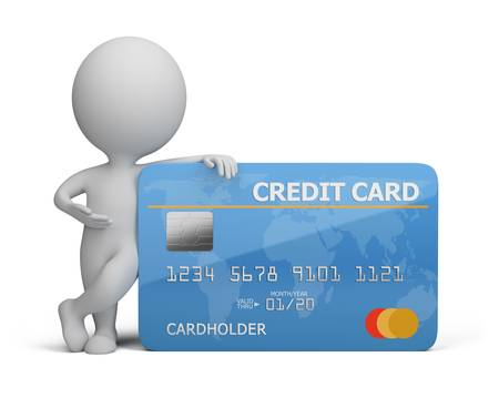 3d small person standing next to a credit card. 3d image. Isolated white background.