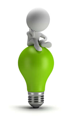 3d small person sitting on a green light bulb in a thoughtful pose. 3d image. White background.
