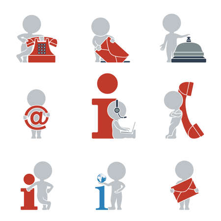 Illustration pour Collection of flat icons with people on contacts and information. Vector illustration. - image libre de droit