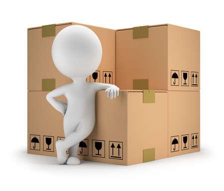 Photo pour 3d small person standing next to cardboard boxes  3d image  White background  - image libre de droit