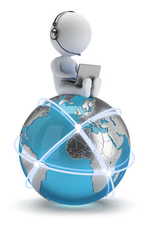 Photo pour 3d small person sitting with a laptop on the Earth with a global network  3d image  White background  - image libre de droit