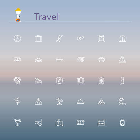 Illustration for Travel and tourism line Icons set illustration. - Royalty Free Image