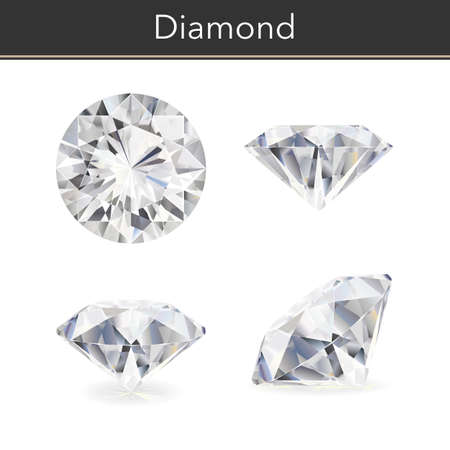 Photo for Vector photorealistic illustration of a diamond. Isolated white background. - Royalty Free Image