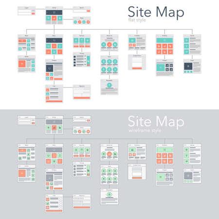 Illustration pour Flat and wireframe design style vector illustration concept of website flowchart sitemap. - image libre de droit