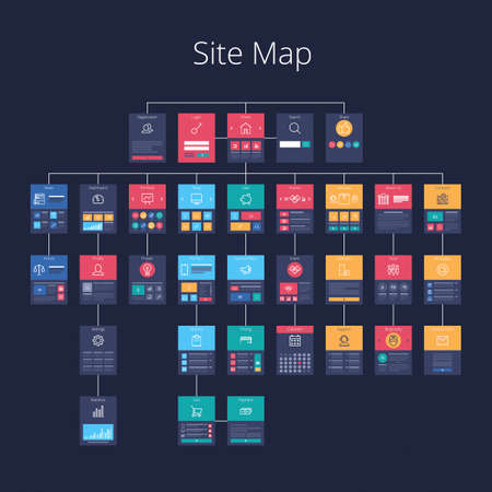 Illustration for Concept of website flowchart sitemap. Pixel-perfect layered vector illustration. - Royalty Free Image