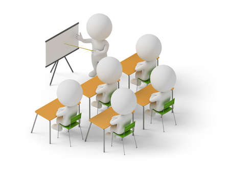 Photo pour Isometric people studying in training courses. 3d image. White background. - image libre de droit