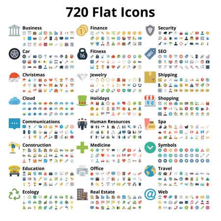 Illustrazione per 720 flat icons set. Vector illustration. - Immagini Royalty Free