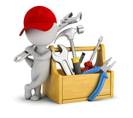 Foto de 3d small people - repairman near the toolbox. 3d image. White background. - Imagen libre de derechos