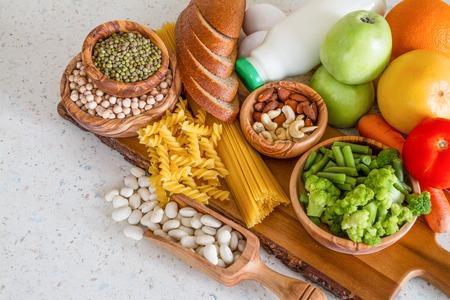 Photo pour Selection of nutrients for vegetarian diet, copy space - image libre de droit