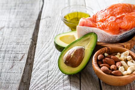 Photo pour Selection of healthy fat sources, copy space - image libre de droit