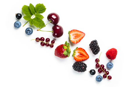 Photo for Fresh berries on white background, top view - Royalty Free Image