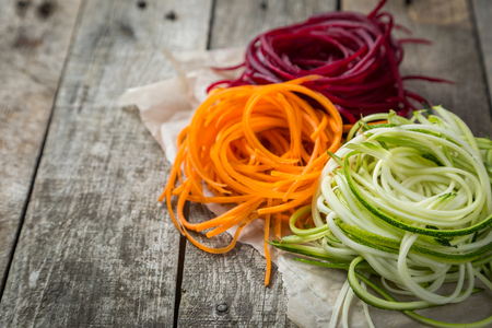 Photo for Vegetable noodles - zucchini, carrot and beetroot - Royalty Free Image