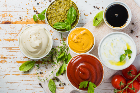 Photo for Selection of different sauces in bowls - Royalty Free Image