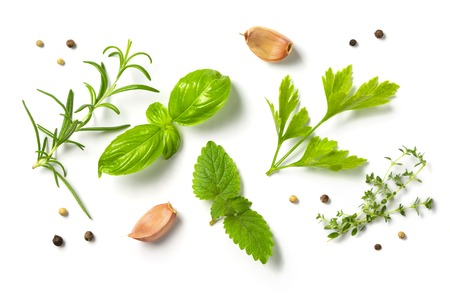 Photo pour Selectionof herbs and spices, isolated, top view - image libre de droit