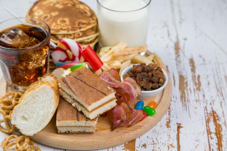 Foto de Selection of food that can cause diabetes - Imagen libre de derechos