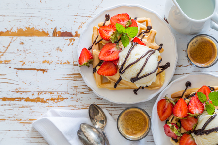 Photo for Waffles with strawberry, ice cream and chocolate - Royalty Free Image
