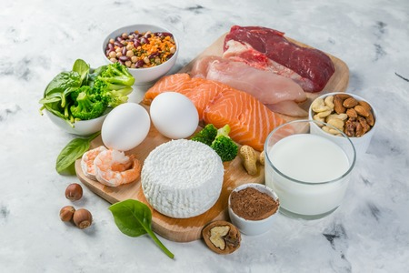 Foto de Selection on vegetarian and animal origin protein sources - Imagen libre de derechos
