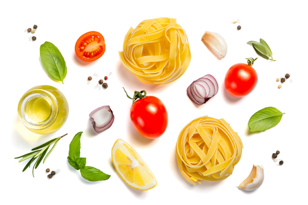 Photo for Italian cuisine concept - raw pasta and ingredients - Royalty Free Image