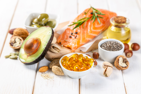 Photo pour Selection of healthy unsaturated fats, omega 3 - image libre de droit