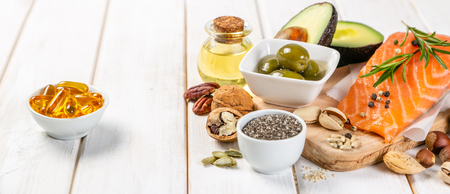 Foto per Selection of healthy unsaturated fats, omega 3 - Immagine Royalty Free