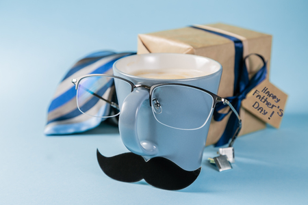 Photo for Fathers day concept - present, coffee, tie, mustache - Royalty Free Image