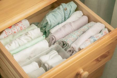 Photo pour Marie Kondo tyding up method concept - folded clothes - image libre de droit