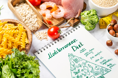 Foto de Mediterranean diet concept - meat, fish, fruits and vegetables - Imagen libre de derechos