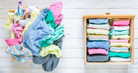 Foto de Marie Kondo tyding up method concept - before and after kids clothes drawer - Imagen libre de derechos