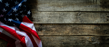 Photo for 4th of July concept - wood backgrouns with american flag - Royalty Free Image