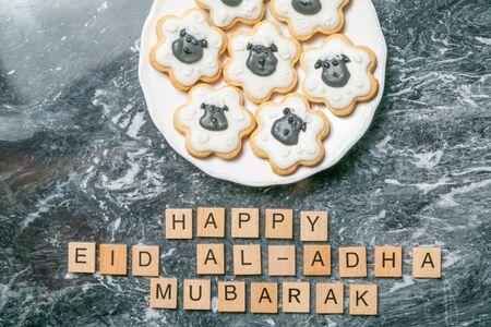 Foto de Eid Ad-Adha Mubarak holiday concept - cookies shaped like sheeps - Imagen libre de derechos