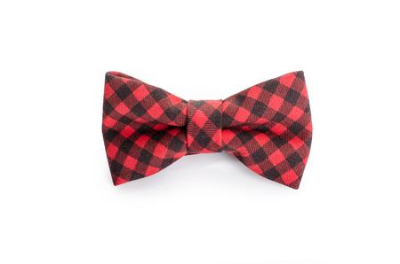 Foto de Plaid bow tie close up on white isolated on white background - Imagen libre de derechos