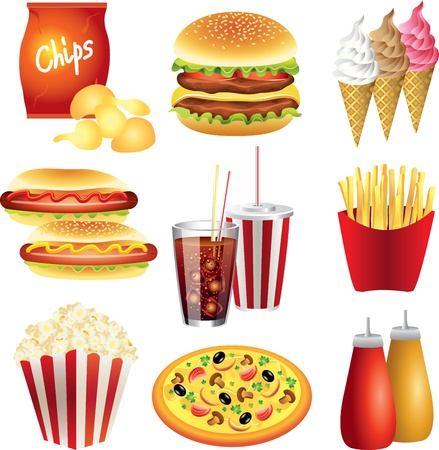 fast food meals picture-realistic illustration set