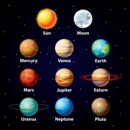 Illustration pour Glossy planets colorful vector set on dark sky background - image libre de droit