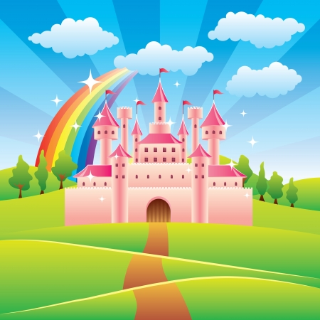Cartoon fairy tale castle colorful vector illustration mural