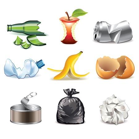 Illustration pour Garbage and waste icons detailed photo-realistic vector set - image libre de droit