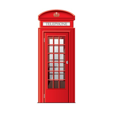 Illustration pour London phone booth isolated on white photo-realistic vector illustration - image libre de droit