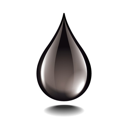 Ilustración de Black oil droplet isolated on white photo-realistic vector illustration - Imagen libre de derechos