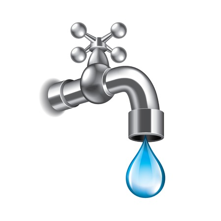 Ilustración de Water faucet isolated on white photo-realistic vector illustration - Imagen libre de derechos