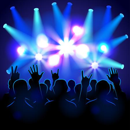 Illustration pour Silhouettes and lights on musical concert vector background - image libre de droit