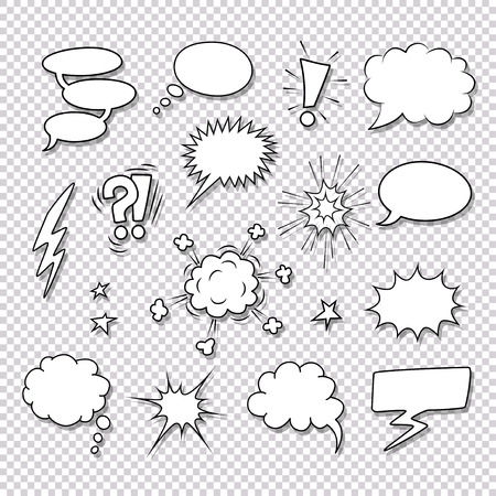 Illustration pour Different speech bubbles and elements for comics vector set - image libre de droit