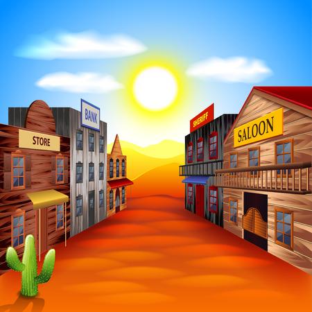Ilustración de Wild west town photo realistic vector background - Imagen libre de derechos