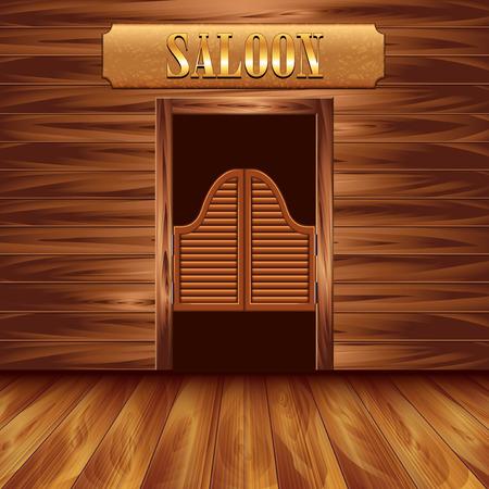 Illustration pour Swinging doors of saloon, western background vector - image libre de droit