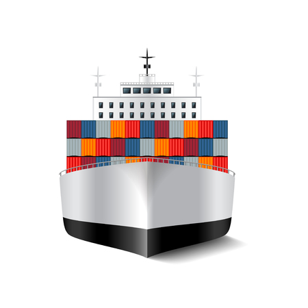 Illustration pour Cargo ship isolated on white photo-realistic vector illustration - image libre de droit