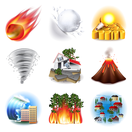Illustration pour Natural disasters icons photo realistic vector set - image libre de droit