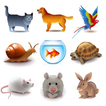 Ilustración de Pets icons detailed photo realistic vector set - Imagen libre de derechos