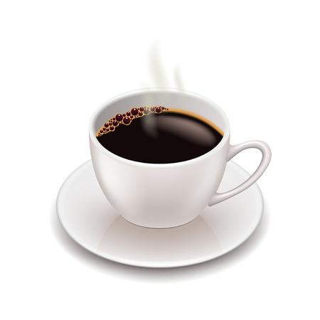 Ilustración de Coffee cup isolated on white photo-realistic vector illustration - Imagen libre de derechos