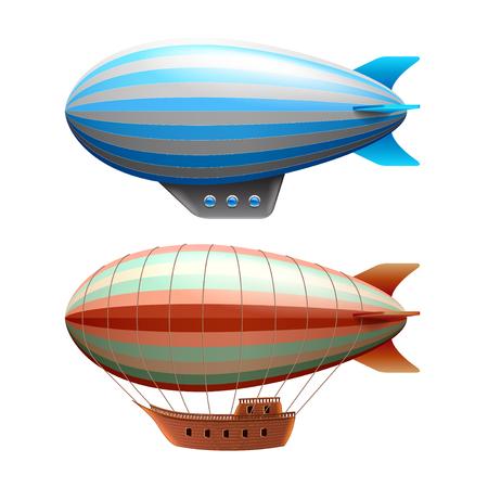 Illustration pour Airship isolated on white photo-realistic vector illustration - image libre de droit
