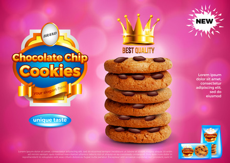 Illustration pour Chocolate chip cookies ads. Realistic vector background. 3d illustration and packaging. - image libre de droit