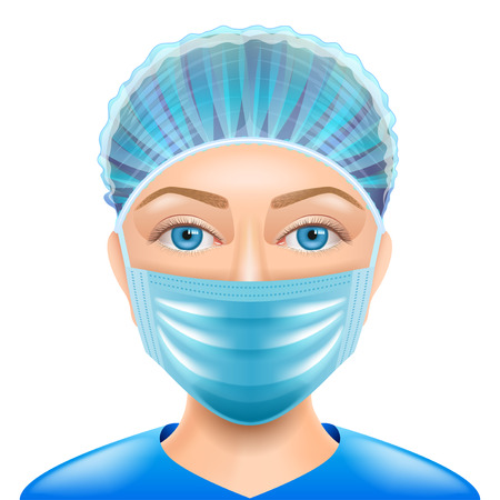 Illustration pour Woman doctor face mask isolated vector photo-realistic illustration - image libre de droit