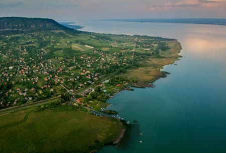 Photo for Aerial view of Badacsony hill at lake Balaton, Hungary - Royalty Free Image